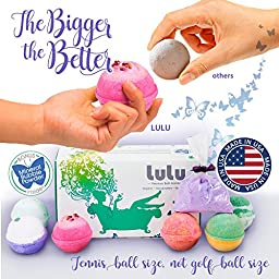 LULU Bath Bombs Gift Set with Mineral Bubble Bath Powder - 6 Large Tennis Ball Size