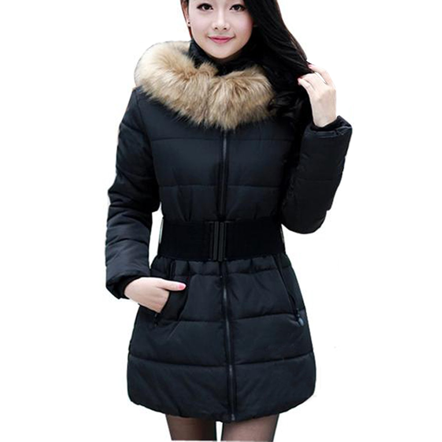911a97b9b7 Amazon.com  Winter Women Warm Fur Collar Hooded Down Jacket Hoodie Quilted  Puffer Coat Parka  Clothing