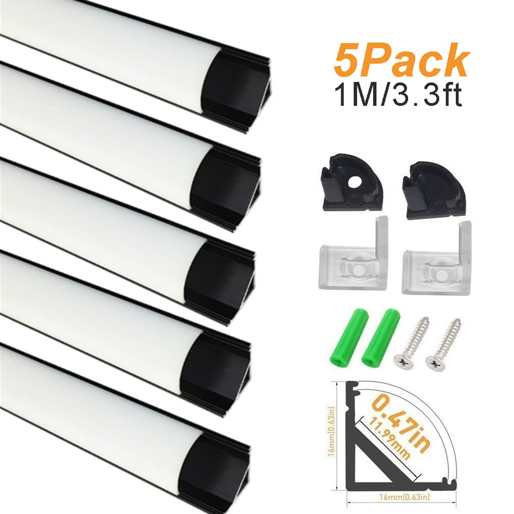 LightingWill 5-Pack V-Shape LED Aluminum Channel System 3.3ft/1M Anodized Black Corner Mount Extrusion for <12mm width SMD3528 5050 LED Strips with Milky White Cover, End Caps, Clips V02B5