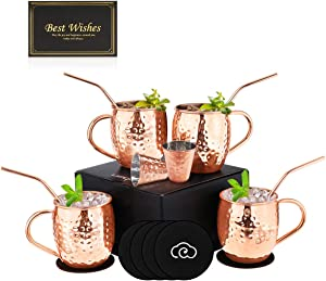 Baban Moscow Mule Copper Mugs Set of 4, Handcrafted Food Safe Copper Cups for Moscow Mule Cocktail Drinking Mug, 500 ML Gift Set Includes 2 Measuring cup