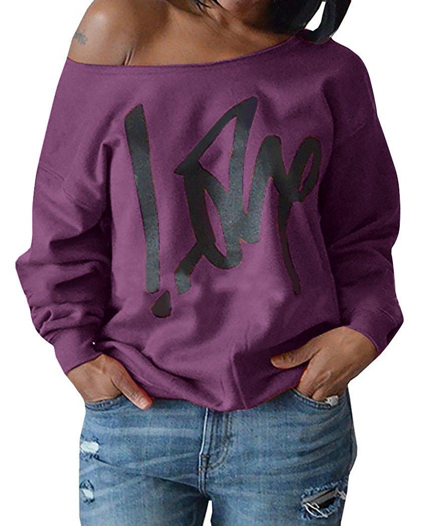 Womens Off Shoulder Pullover Sweatshirt Love Letter Printed (X-Large, Purple)