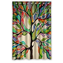 Unique and Generic Custom Tree of Life watercolor painting Printed Waterproof fabric Polyester Shower Curtain