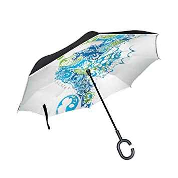 BENNIGIRY Paraguas reversible plegable de doble capa, protección UV resistente al viento, gran paraguas