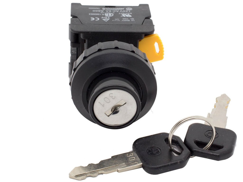 Alpinetech KS-30 30mm Key Selector Switch Maintained 1NC 1NO 2 Positions