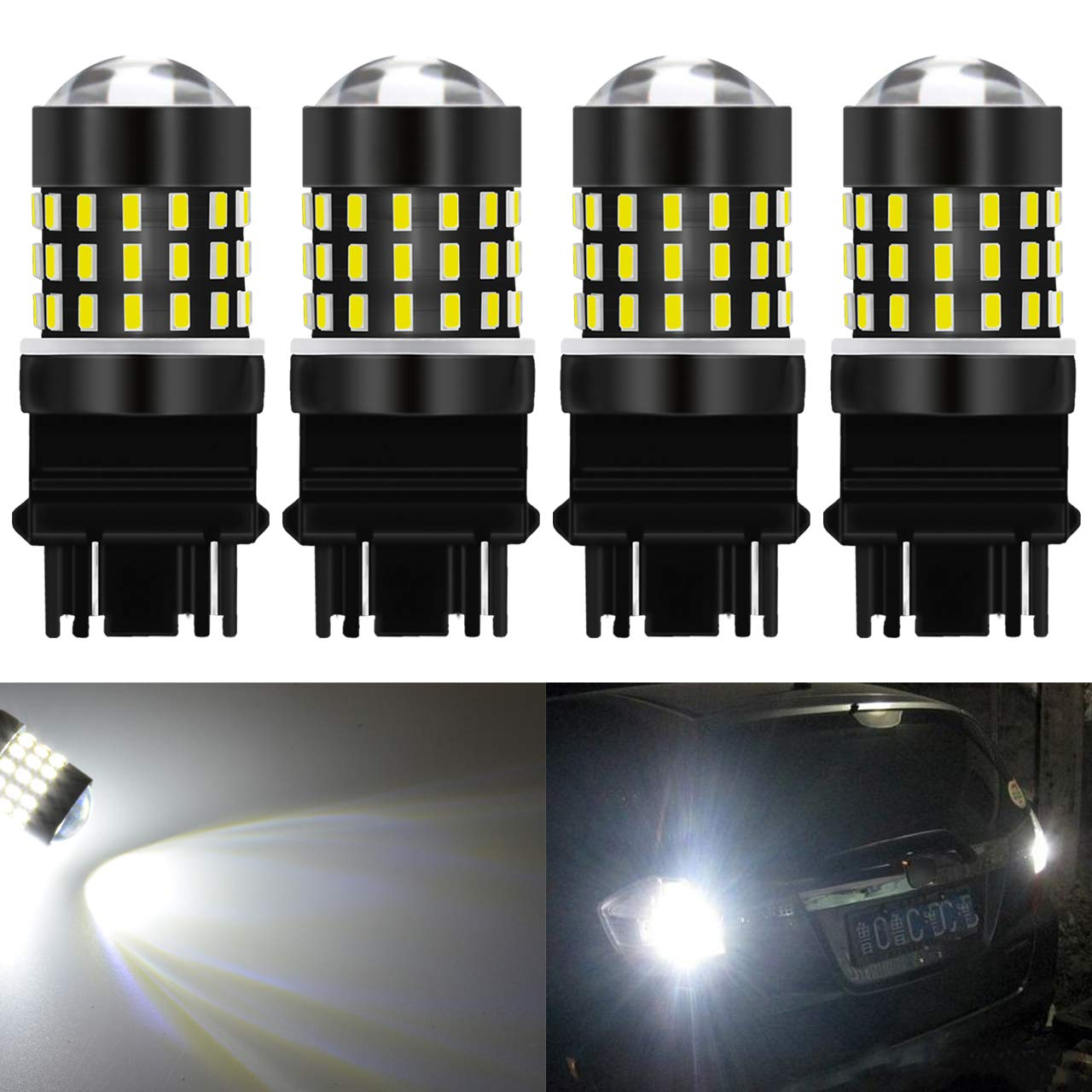 KaTur 4pcs Super Bright 3157 3047 3057 3057A 3155 3014 54SMD Lens LED Replacement Bulbs Turn Brake Signal Tail Back Up Stop Parking RV Lights 3.1W DC 12V Red