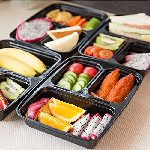 10 pack meal prep containers 3 compartment food prep containe with lids bento lunch boxes. Black Bedroom Furniture Sets. Home Design Ideas