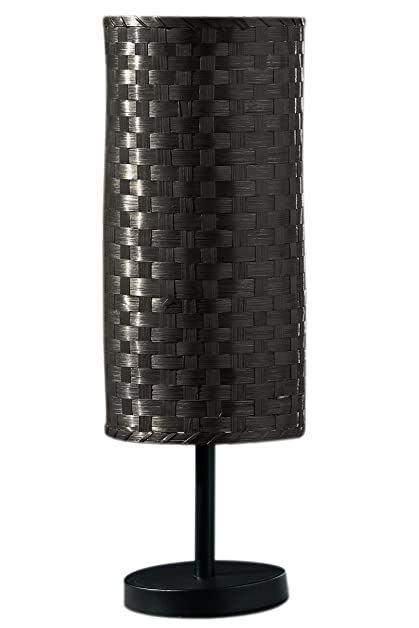 Premier housewares bamboo table lamp with dark brown woven shade premier housewares bamboo table lamp with dark brown woven shade and matt black metal base aloadofball Images