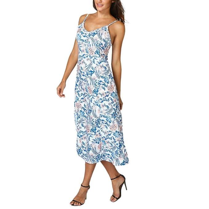 Strand Kleider Sommerkleid Urlaub Sommer Frauen Damen Maxi-Kleid Floral Lang