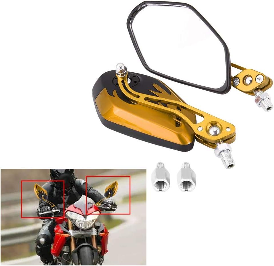 1 paio di specchietti retrovisori per scooter universali da 8 mm 10 mm diametro vite 10 mm//8 mm specchi retrovisori laterali in alluminio modello fiamma Blu