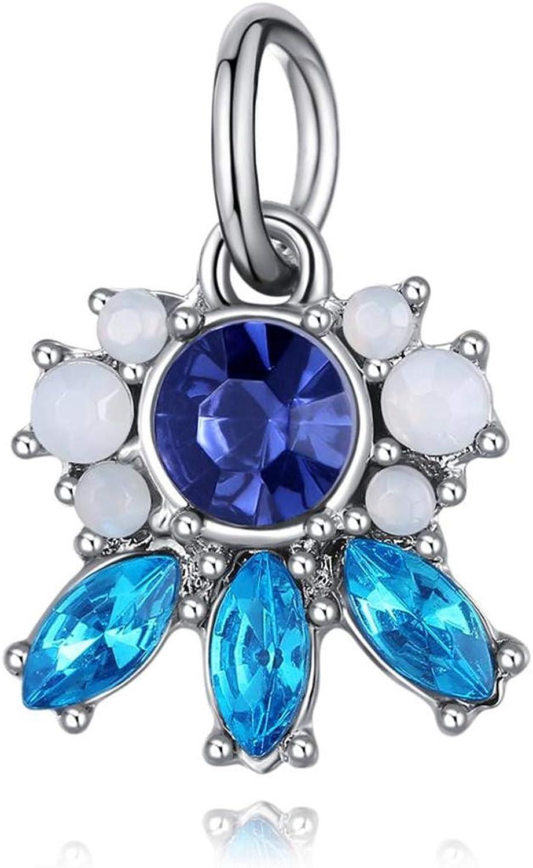Styliee Charme de Perles de Cadeau de Bijoux 925 Silver Blue Star Christmas Snowman Snowflake Bead Fit Original Bead Bracelet for Women Charm DIY Jewelry P006