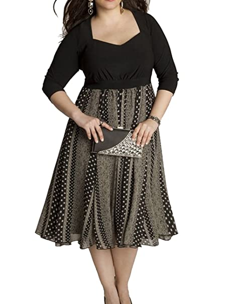 Aishang Women\'s Plus Size Dresses Empire Waist Print Splice ...