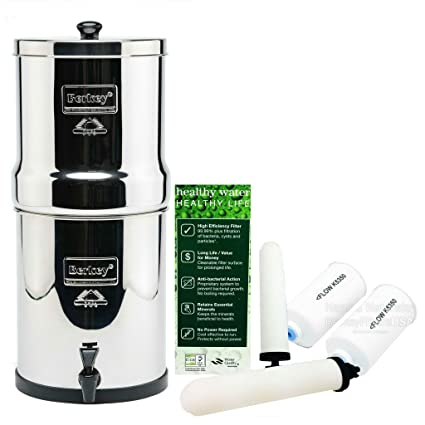"berkey big water filter system with 2 9"" ceramic filters & 2 pf-4 ..."