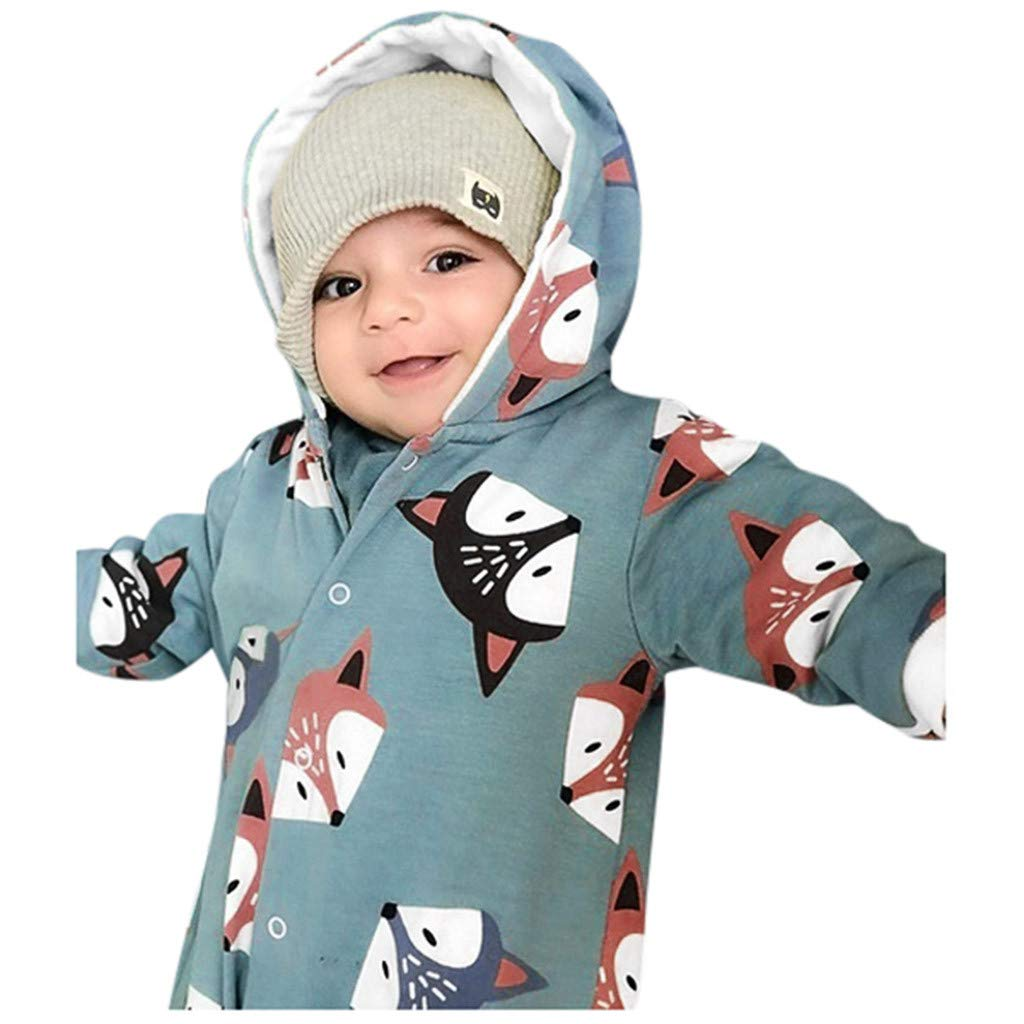 DIASTR Baby Strampler Kleinkind Infant Baby Overall Sets Jungen Fuchs Print Kurzarm Strampler Baby Bekleidung M/ädchen Kleidung Kapuze Baumwolle Overall Herbst Winter Outfits 0-24 Monate