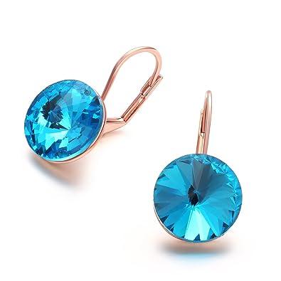 7a3ce710a Jösva Women's Hoop Earrings Rose Gold Huggie Hinged Hoops Sleeper Earings  Creole with Aquamarine Blue Swarovski