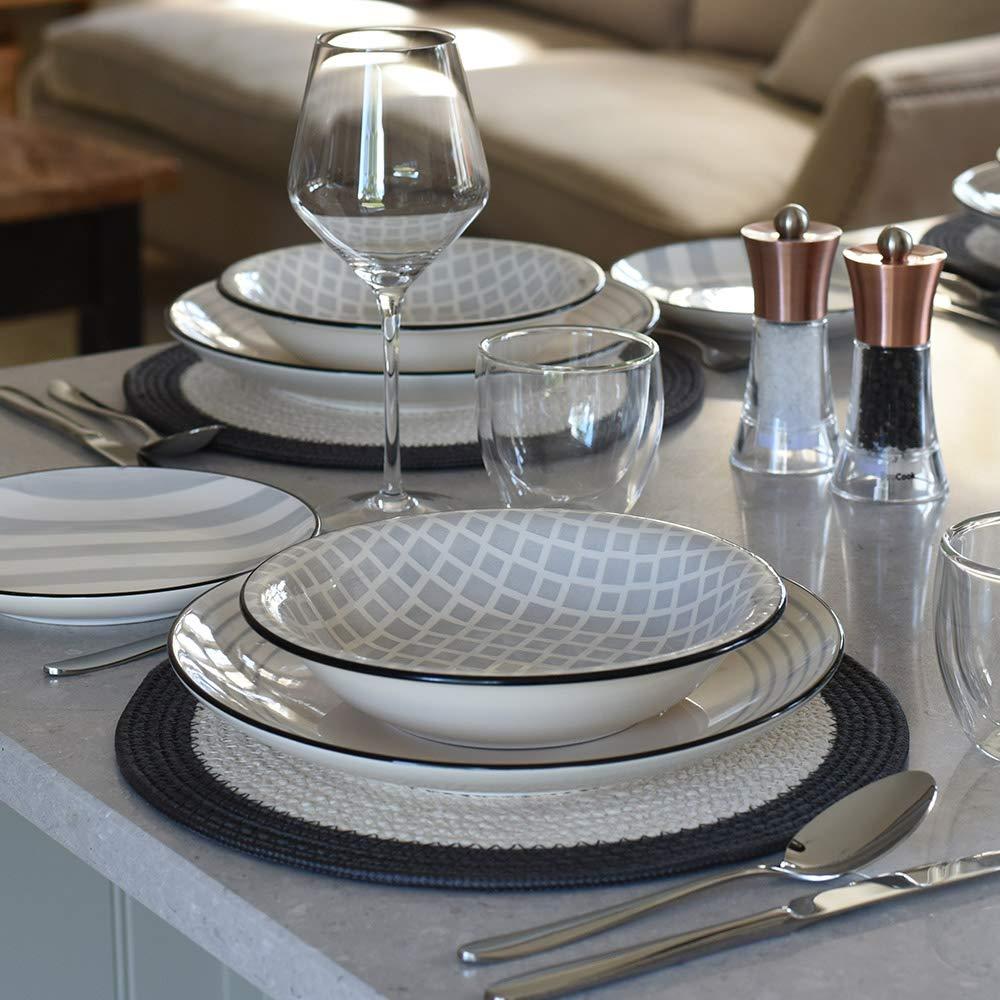 ProCook Salcombe Stoneware Dinner Set 12 Piece - Grey