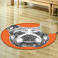 Round Area Rug Dog Portrait of English Bulldog Puppy Pet Black White Orange Indoor/Outdoor Round Area Rug-Round 31