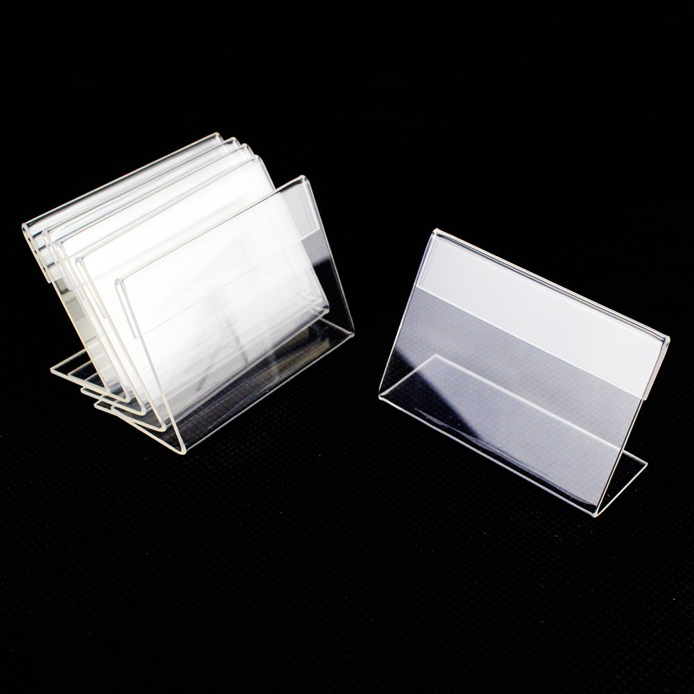 Airgoesin 50pcs Mini Sign Display Holder Price Card Tag Label Counter Top Stand Case 6cm x 4cm