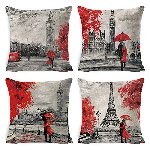 DUSEN Oil Painting Paris Love Series Eiffel Tower Big Ben Pattern Throw Pillow Covers Decorative Square Couple Cushion Cases for Couch, Sofa, or Bed Set of 4 18 x 18 inch (Couple)