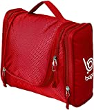 Bago Hanging Travel Toiletry Bag For Men & Women - Toiletries , Cosmetic , Shaving & Makeup Organizer Kit - A Place for every item ( Red )