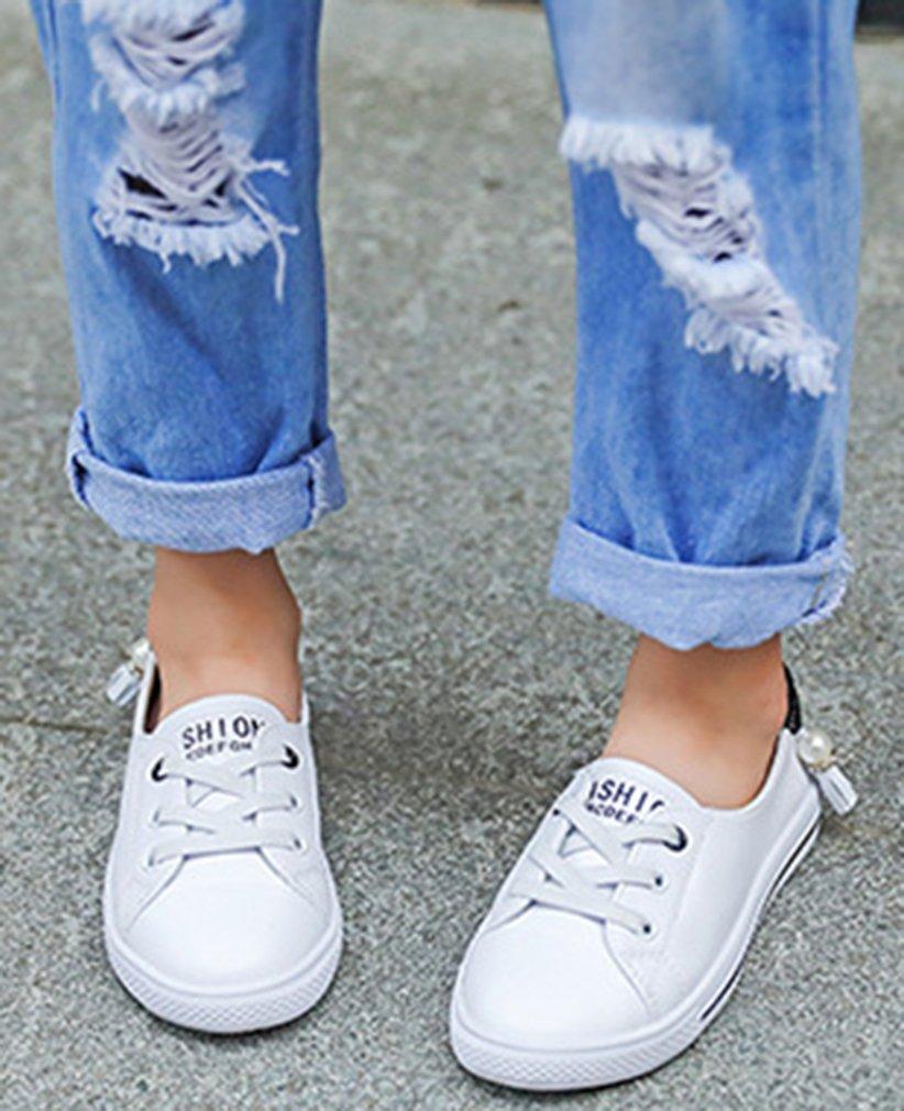 VECJUNIA Girl's Trendy Low Top Round Toe Elastic Casual Flat Shoes Walking (Black, 2.5 M US Little Kid) by VECJUNIA (Image #8)