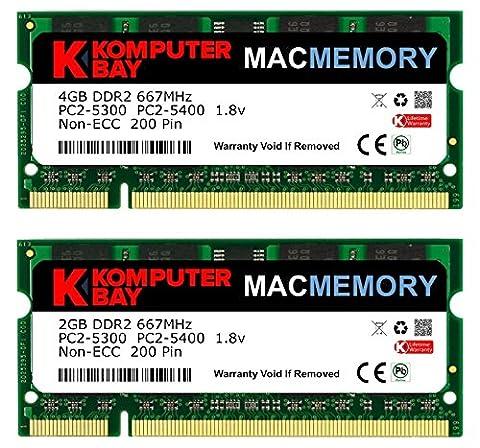 Komputerbay MACMEMORY 6GB Kit (4GB + 2GB Modules) PC2-5300 667MHz DDR2 SODIMM for Apple iMac MacBook (4 Gb Ddr2 Sdram 667)