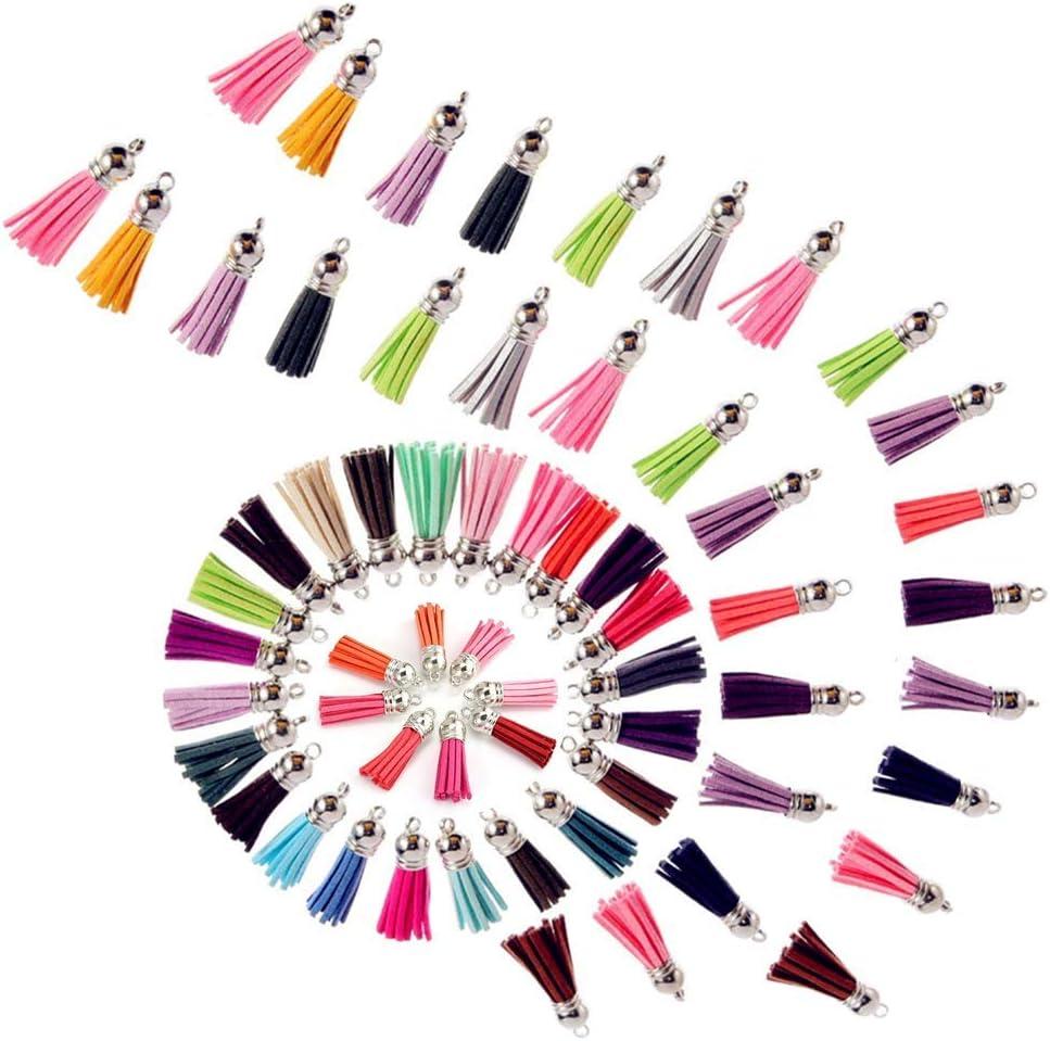 Colgantes de Borlas, Borlas de Ante con Gorras Multicolor Bolso de cuero con Borlas para Joyería Artesanía y Accesorios de Bricolaje, Surtido de Colores 120 Pack