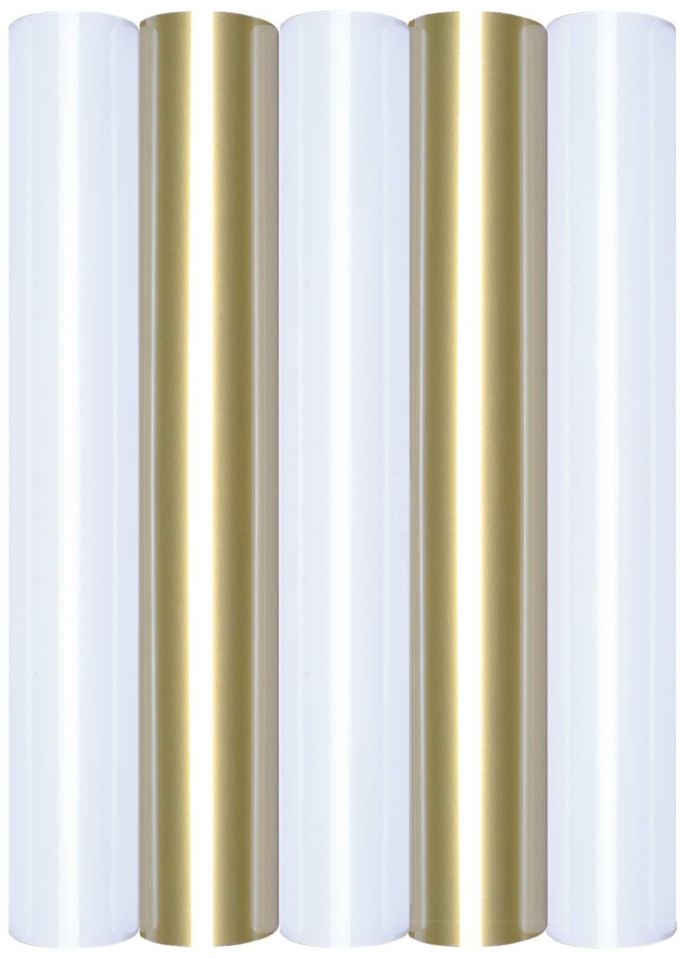 5 láminas de transferencia A4 para planchar sobre textiles, perfectas para plotter, P.S. Film:5er Set White&Gold: Amazon.es: Oficina y papelería
