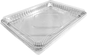 1/2 Size Sheet Cake Aluminum Foil Pan w/Clear Low Dome Lid (Pack of 10 Sets) 17.1