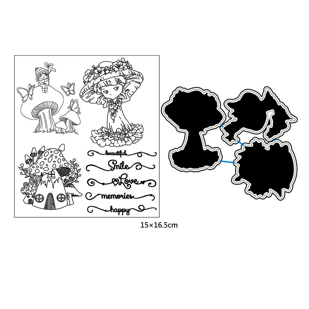 Exing Clear Stamping Tampon en forme de champignon pour fille