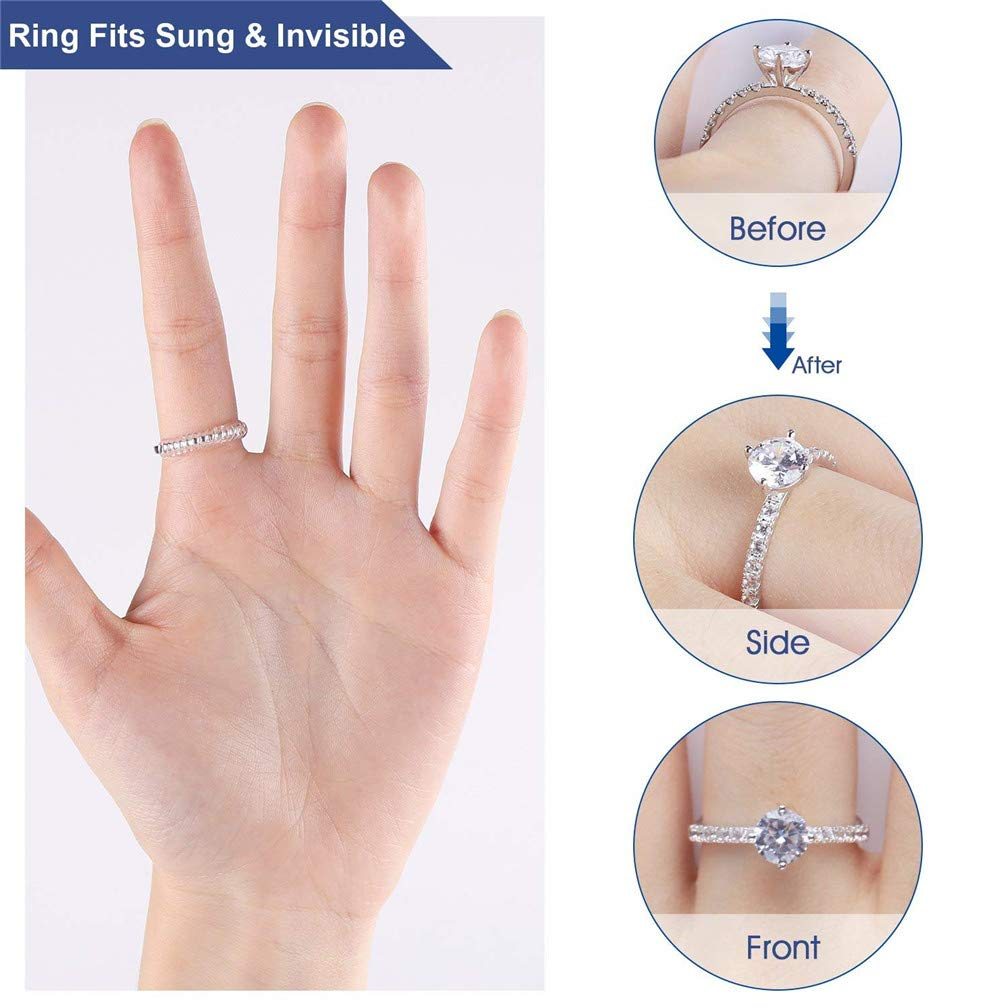Ring Size Adjuster Ring Guard Clip Invisible Tightener Transparent Resizer Snuggies Reducer for Loose Ring,Set of 5 Sizes Pack