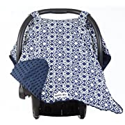 Carseat Canopy with Navy Minky - Car Seat Canopy for Popular Baby Carseat Models. Breathable Soft Navy Minky Fleece Fabric.