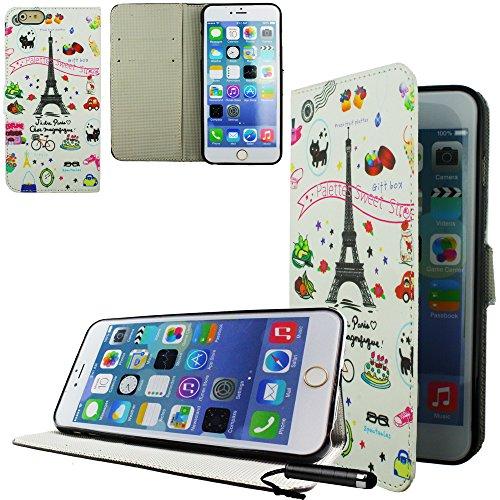 Ownstyle4you - APPLE IPHONE 6S PLUS Etui Wallet Coque Housse PREMIUM Portefeuille Eco Cuir Side PARIS Protection Pare-Chocs Goutte Absorption des Chocs + Protecteur d'écran tactile