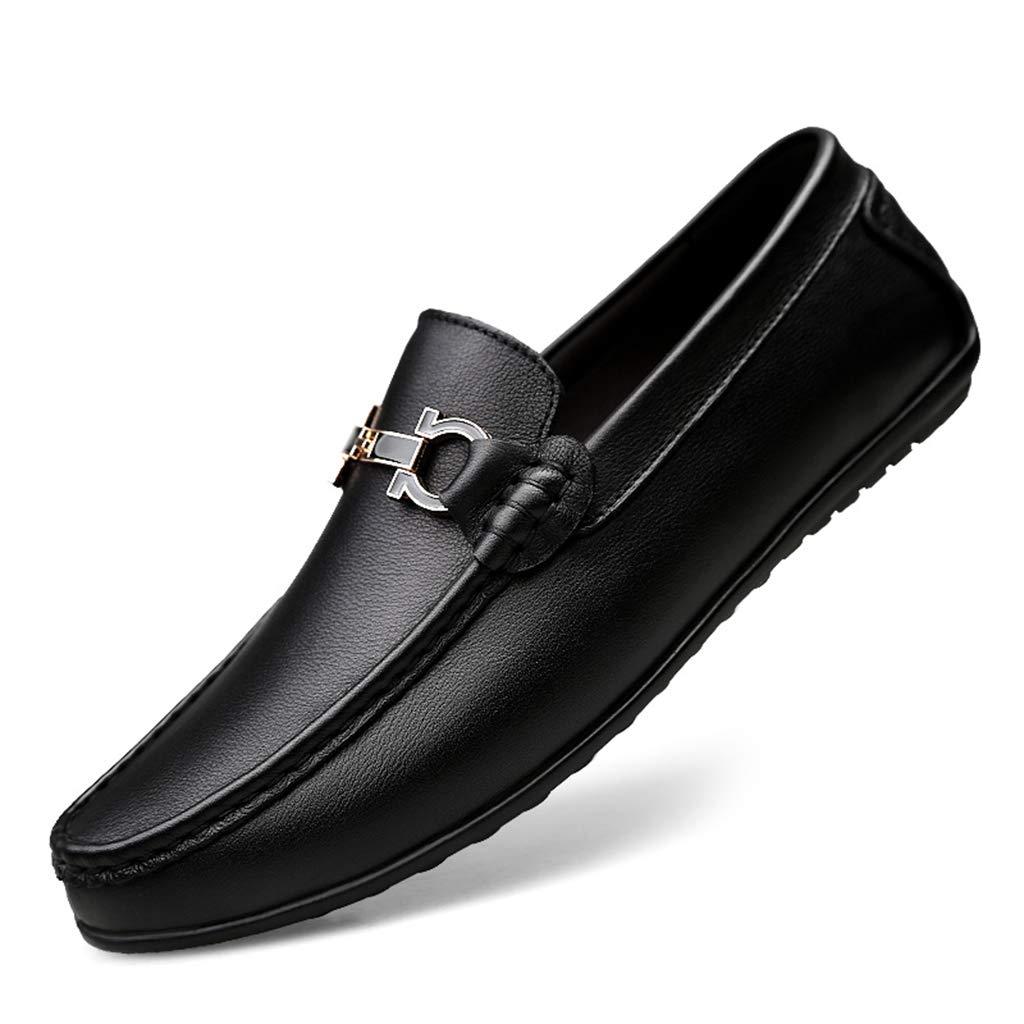 Black Peas shoes Men's Leather Driving shoes Casual shoes White shoes Men's Cattle Leather Breathable shoes