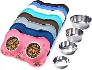 Vivaglory Dog Bowls Stainless Steel Water and Food Bowl Pet Puppy Cat Feeder with Non Spill Skid Resistant Silicone Mat, Medium, Pink