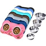 Vivaglory Dog Bowls Stainless Steel Water and Food Feeder with Non Spill Skid Resistant Silicone Mat for Pets Puppy…