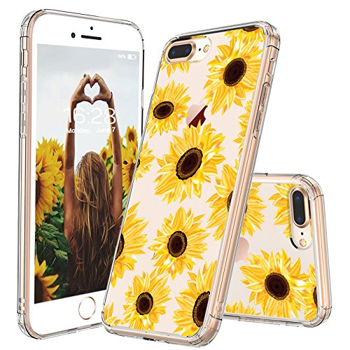 save off 0e4b7 045a5 MOSNOVO iPhone 7 Plus Case, iPhone 8 Plus Case, Floral Flower Sunflower  Pattern Clear Design Transparent Back Phone Case with TPU Bumper Case Cover  ...