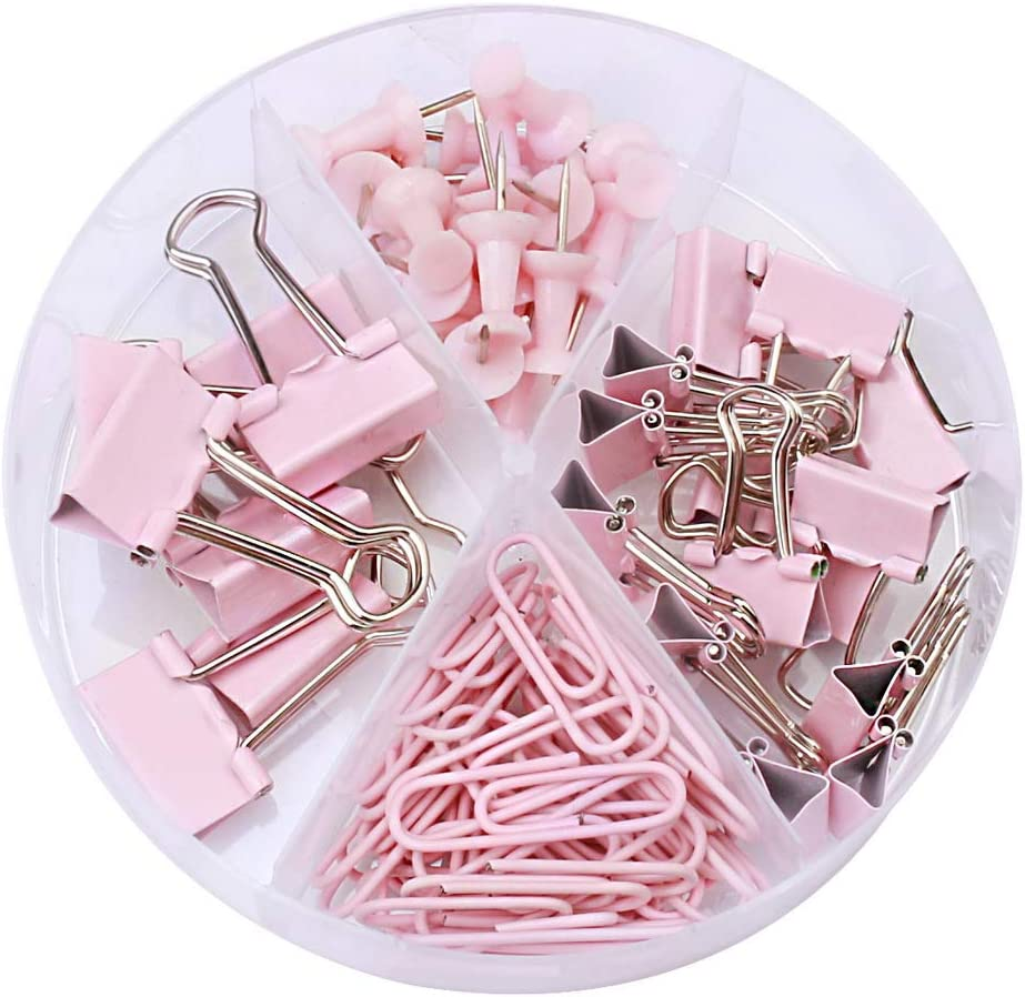 Younmi 72 Pcs Paper Clips Binder Clips Push Pins Set with Box for Office, School and Home Supplies : Office Products