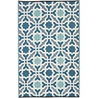 Fab Habitat Seville Indoor/Outdoor Recycled Plastic Rug, Multicolor Blue, (3' x 5')