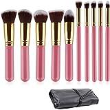 Ammiy 10PCS Professional Premium Kabuki Makeup Brush Set Pink Golden Kit With Case