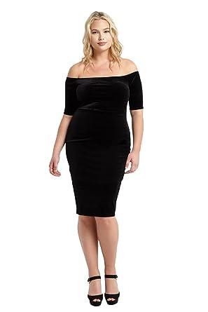 Poshsquare Womens Off The Shoulder Short Sleeve Velvet Bodycon