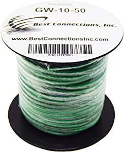 10 Gauge AWG 50 Feet Solid Copper Green Ground Wire UL Listed Satellite Cable