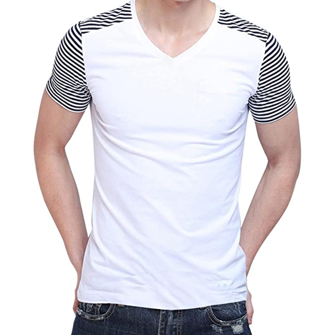 LuckyGirls Camisetas Hombre Originales Manga Corta Verano Moda Rayas Patchwork Polos Personalidad Casual Remera Blusa Camisas