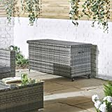 VonHaus Cushion Storage Box PE Rattan – Weather Resistant and Easy Open Storage Bench for Outdoors, Conservatory, Garden or Patio