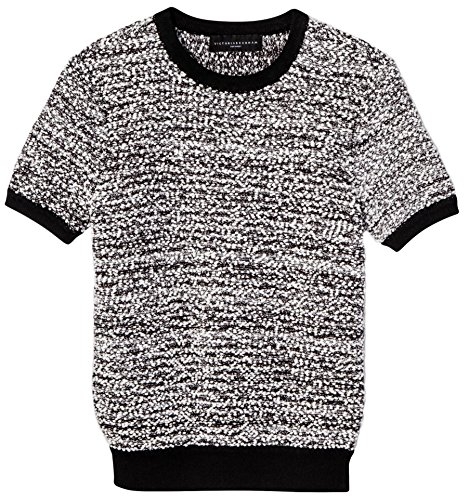 Victoria Beckham Women's Black and White Short Sleeve Sweater Knit Top (2X)