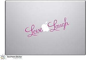 Love Laugh Text Vinyl Car Sticker Symbol Life Is Beautiful Silhouette Keypad Track Pad Decal Laptop Skin Ipad Macbook Window Truck Motorcycle (Pink)