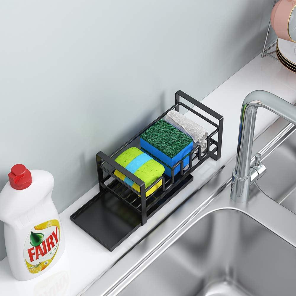 organizador de fregadero soporte de jab/ón con bandeja extra/íble Soporte de esponja organizador de fregadero de cocina escurridor soporte de esponja negra