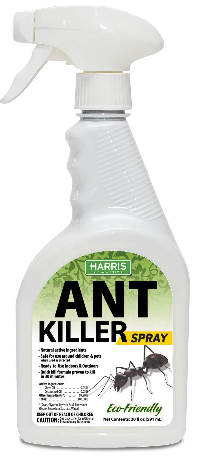 Harris New Ant Spray, Natural Plant Oil Based Quick Kill Formula for Indoor and Outdoor Use, 20oz by Harris