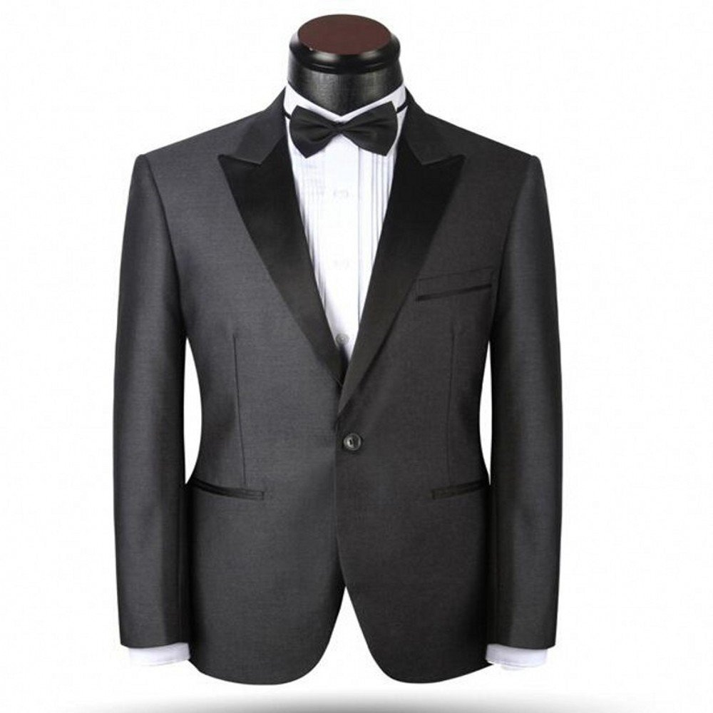2 Piece Peak Lapel Gray Groom Tuxedos Party Suits