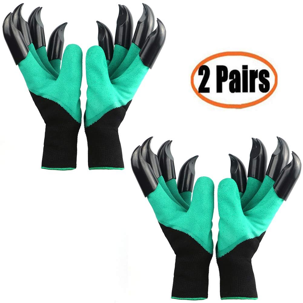 Garden Genie Gloves with Claws(2019 Upgrade), Waterproof and Breathable Garden Gloves for Digging Planting, Best Gardening Gifts for Women and Men (Green Claw 2 Pairs)