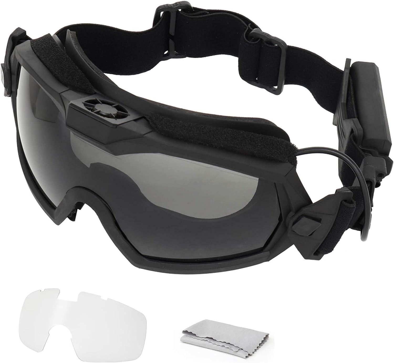 SGOYH Fan Version Cooler Tactical Airsoft Paintball Gafas Regulador Gafas Protectoras para Snowboard Esquí Caza Tiro Bicicleta Deportes
